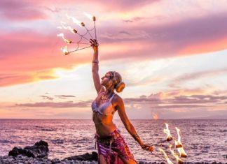 maui fire fan dancer
