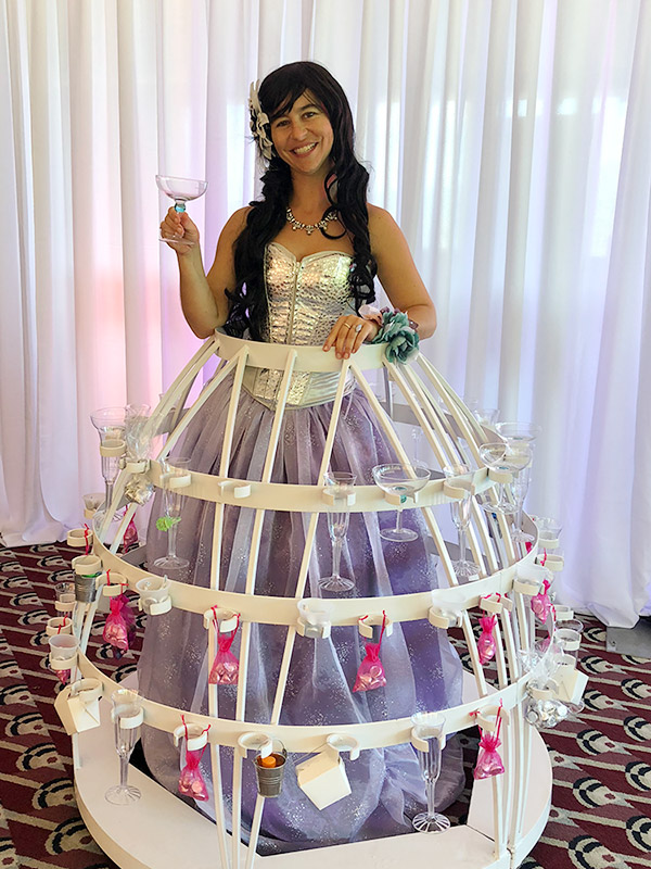 champagne skirt at maui wedding expo 2018